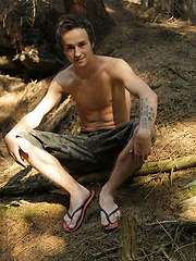Twink Jake Palace jerking off in the woods.